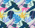 Abstract tropical summer background. Vector seamless tropical pattern