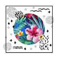 Abstract tropical summer poster design in minimal style.