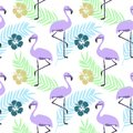 ABSTRACT TROPICAL TEXTURE. PALM LEAF AND FLAMINGO. HAND DRAW COMPOSITION OF SUMMER FEELING SEAMLESS VECTOR PATTERN.