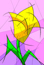 Abstract tulip hand made drawing yellow Stock Images