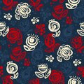 Abstract tulip and roses folk style seamless pattern Royalty Free Stock Photo