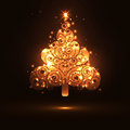 Abstract twinkling and glowing fir tree on dark brown background banner template panorama christmas greeting card design backdrop Royalty Free Stock Photo