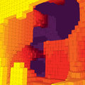 Abstract underground landscape with colored cubes. Abstract topographies of digital space. Geometrical cave.