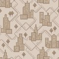 Abstract urban seamless pattern. Landscape with city blocks. Vector background.