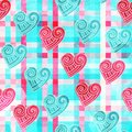 Abstract valentine seamless pattern with grunge effect Stock Photo
