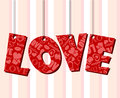 Abstract valentine text frame with hanged letters paper red love pattern symbols and words Stock Photography