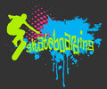 Abstract vector background skateboarder silhouette Stock Photo