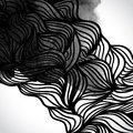 Abstract vector black and white design with waves