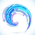 Abstract vector blue techno spiral background shining Stock Photography