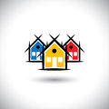 Abstract vector of colorful house or real estate property icons Stock Images