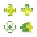 Abstract vector cross logos collection. Unusual  logo set. Royalty Free Stock Photo