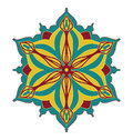 Abstract vector design element, flower shape symmetrical pattern in pretty red blue and yellow color combination Royalty Free Stock Photo