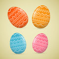 Abstract vector easter eggs d orange red blue pink Stock Photo