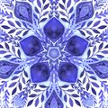 Abstract vector floral ornamental border. Lace pattern design. Watercolor ornament on blue background. Vector ornamental border fr Royalty Free Stock Photo
