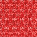 Abstract vector geometric Christmas pattern seamless print with Santa Claus faces and snowflake background. For Christmas wrapping