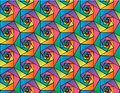 Abstract vector geometric seamless pattern of mosaic hexagons in rainbow colors
