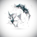 Abstract vector geometric shape with chroma aberration effect lowpoly background Stock Image