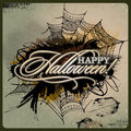 Abstract vector halloween grunge design card background Stock Images