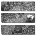 Abstract vector hand drawn doodle floral pattern card set. Series of image Template frame design for card Royalty Free Stock Photo