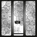 Abstract vector hand drawn doodle floral pattern card set. Series of image Template frame design for card. Black and white. Royalty Free Stock Photo