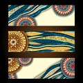 Abstract vector hand drawn ethnic pattern card set Royalty Free Stock Photo