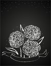Abstract vector illustration flowers wrapped ribbon blackboard concept decoration restaurant bar coffeehouse coffee shop menu Royalty Free Stock Images