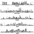 Abstract vector illustrations of asian citiesSingapore, Kuala Lumpur, Bangkok, Jakarta and Manila skylines in black and white co