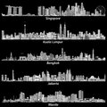 Abstract vector illustrations of asian citiesSingapore, Kuala Lumpur, Bangkok, Jakarta and Manila skylines in grey scales palett