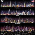 Abstract vector illustrations of United States city skylines New York, Chicago, San Francisco and Los Angeles at night with map Royalty Free Stock Photo