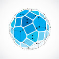 Abstract vector low poly object with black lines and dots connected. Blue 3d futuristic ball with overlapping lines mesh and geom Royalty Free Stock Photo