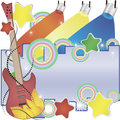 Abstract vector music background with a guitar and colorful spotlights Royalty Free Stock Photo