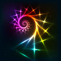 Abstract vector rainbow fractal spiral background neon Stock Photos