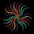 Abstract vector Rainbow waves circles dots background.