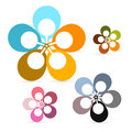 Abstract Vector Retro Flowers Set Stock Photo