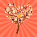 Abstract vector retro heart shaped tree illustration Royalty Free Stock Image