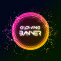 Abstract vector round banner. Glowing circle shining shape. Creative banner design Royalty Free Stock Photo