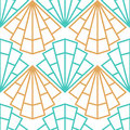 Abstract vector seamless Art Deco pattern with stylized shell Royalty Free Stock Photo