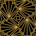 Abstract vector seamless Art Deco pattern with stylized shell. Golden ornament on black background