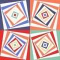 Abstract vector seamless op art pattern. Color pop art, graphic ornament. Optical illusion.