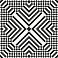 Abstract vector seamless op art pattern. Monochrome graphic black and white ornament. Striped optical illusion Royalty Free Stock Photo