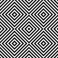 Abstract vector seamless op art pattern with rhombus. Monochrome graphic black and white ornament. Striped optical illusion.