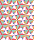 Abstract vector seamless pattern with different triangles and shapes. Modern mosaic texture in flat style. Multicolored stylized