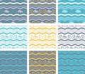 Abstract vector seamless pattern with flowing lines background, curve waves, bent geometric curls. Royalty Free Stock Photo
