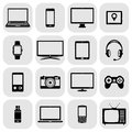 Abstract vector set of digital devices and electronic gadgets icons Royalty Free Stock Photo