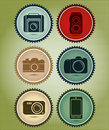 Abstract vector set of symbols with the evolution of the camera in retro vintage style Stock Photo