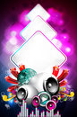 Abstract vector shiny background with speakers. Stock Photo