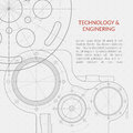 Abstract vector technology and engineering background with technical, mechanical drawing Royalty Free Stock Photo
