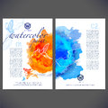Abstract vector template design with colored butterflies and birds flyer brochure web sites page leaflet colorful watercolor Stock Photos
