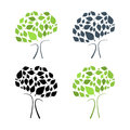 Abstract vector tree illustration set on white background Stock Images