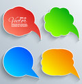 Abstract vector white speech bubbles set on grey background Stock Photography
